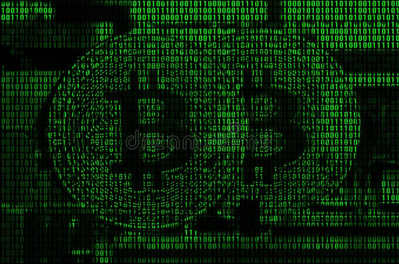 Image of the binary code from bright green digits, through which the image of the physical bitcoin.  royalty free stock photo