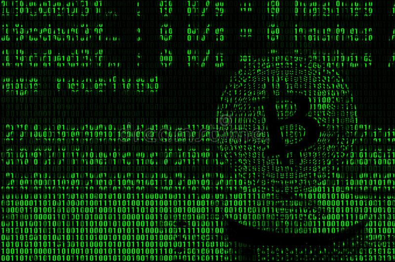 Image of the binary code from bright green digits, through which the image of the physical bitcoin.  royalty free stock image