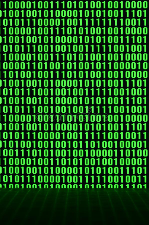 An image of a binary code made up of a set of green digits on a black background.  royalty free stock images