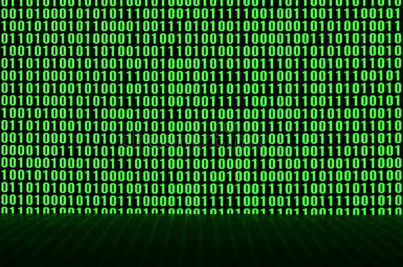 An image of a binary code made up of a set of green digits on a black background royalty free stock photo