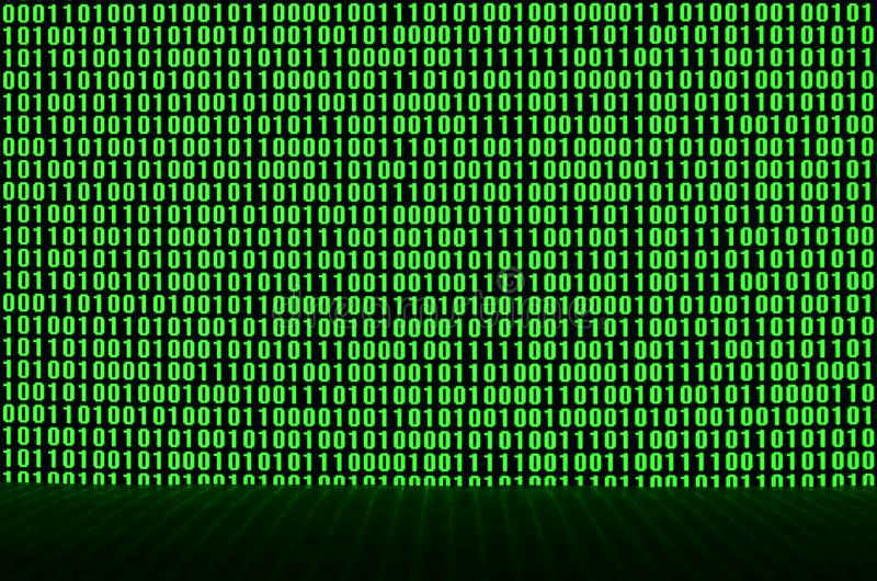 An image of a binary code made up of a set of green digits on a black background.  stock photography