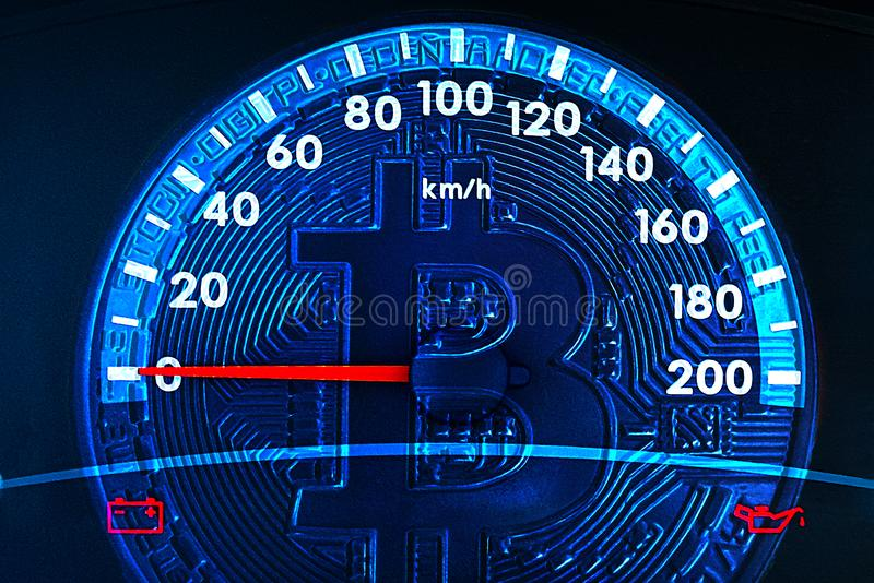 Image of bitcoin and car speedometer. Collage. The concept of the fall of digital cryptocurrency. The issue of digital currency royalty free stock images