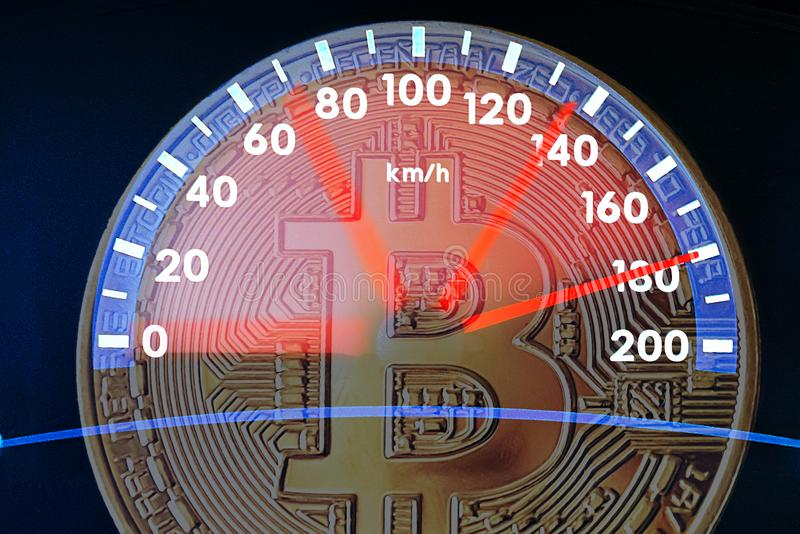 Image of bitcoin and car speedometer. Collage. The concept of the rapid growth of digital cryptocurrency. The problem of digital royalty free stock photography