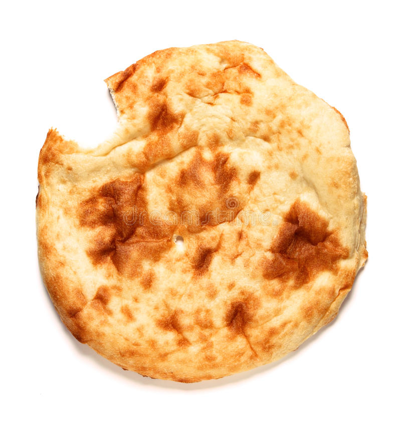 Image of bited off lavash-bread on white