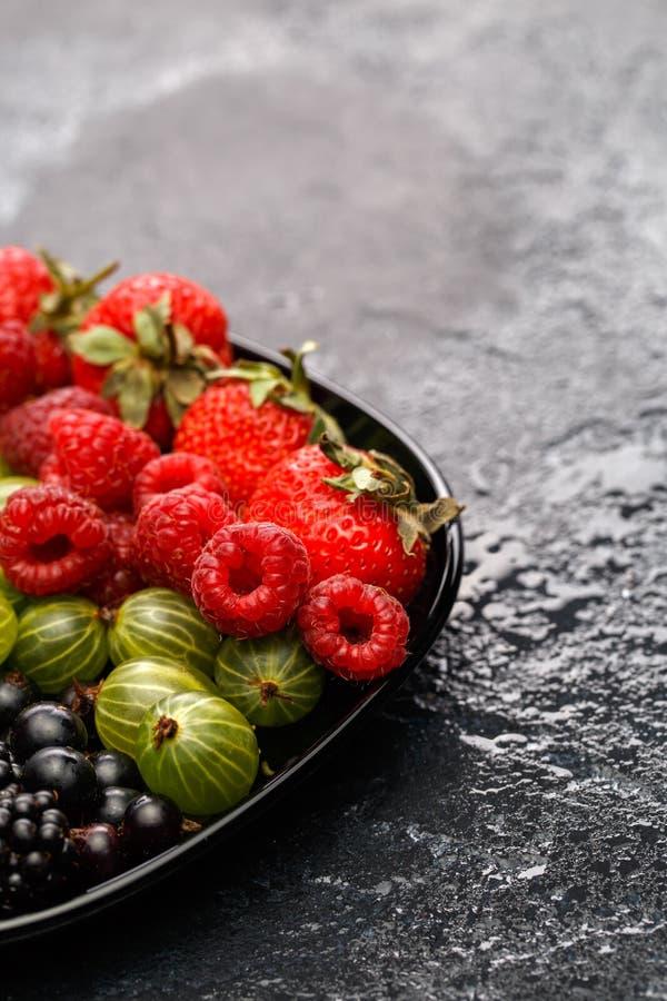 Image of blackberry, strawberry, raspberry, gooseberry, black currant royalty free stock image