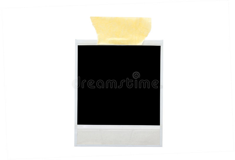 Image of blank photo with sticky tape stock photography