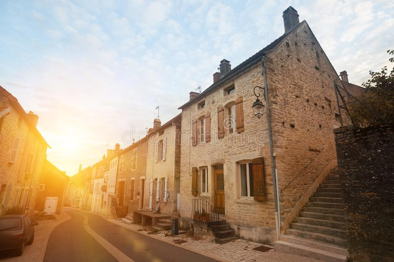 Image of  Bligny-sur-Ouche city historical streets and  building. In France royalty free stock image