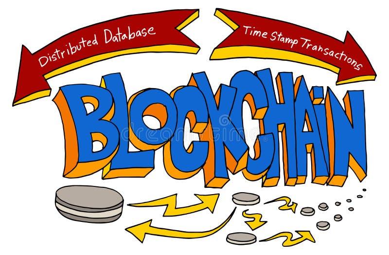 Blockchain Technology Text Drawing Cartoon. An image of a Blockchain Technology Text Drawing isolated on white vector illustration