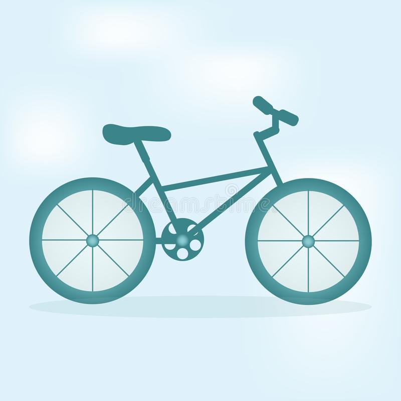 Image of a blue bicycle staying outside. At the light blue background vector illustration