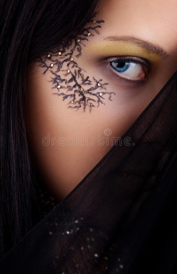Download Image blue-eyed girl stock photo. Image of painting, make - 22051282