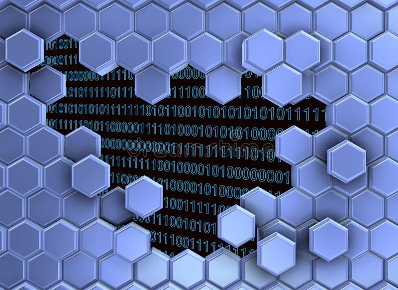 Image of blue hexagons wall broken by the digital era stock photo