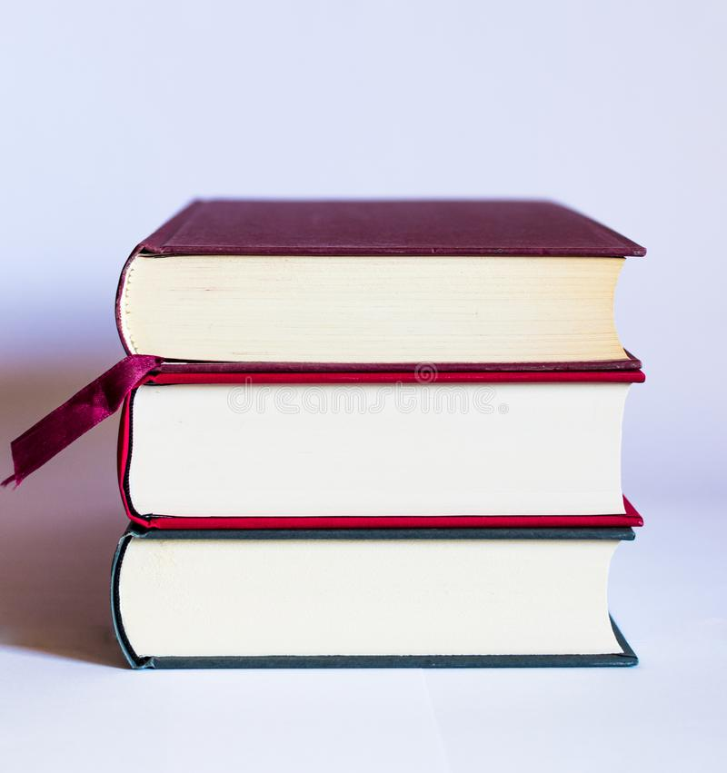 Image with books and glasses on white background royalty free stock images