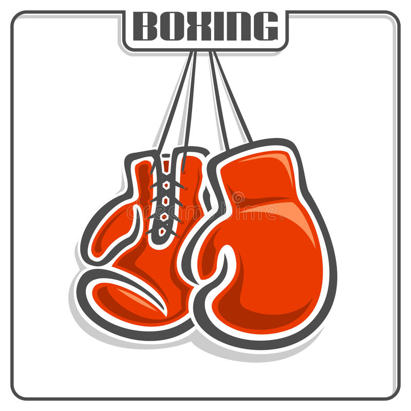 The image of boxing gloves. The image on the boxing theme stock illustration