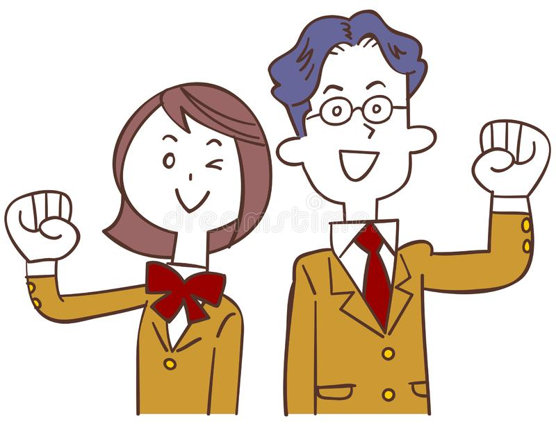 A boy student and a girl student in a beige blazer posing. The image of A boy student and a girl student in a beige blazer posing vector illustration