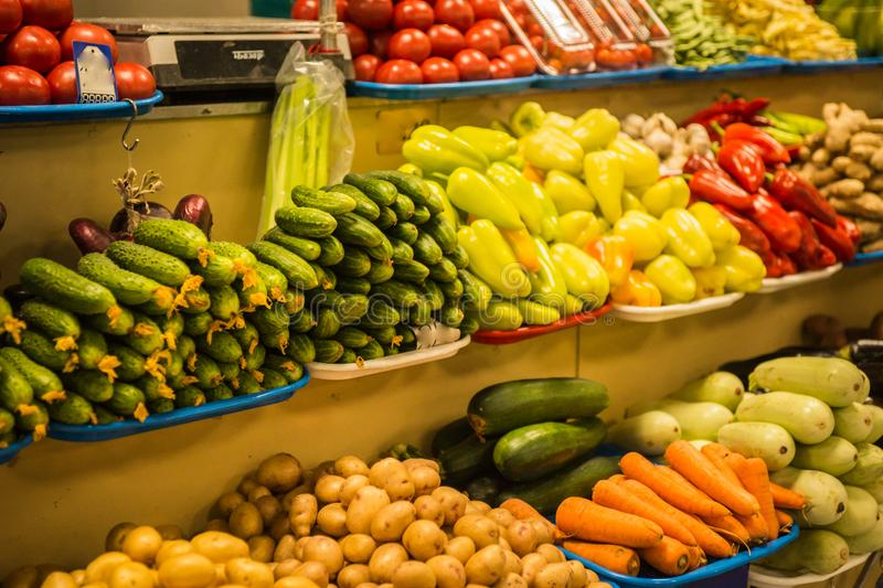 Bright colorful autumn fruits and vegetables stock image