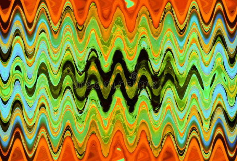 ORANGE AND LIGHT GREEN WAVE PATTERN royalty free stock images