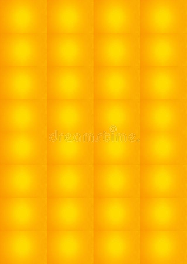 DIFFUSED LIGHT PATTERN IN GOLD AND YELLOW. Image of a bright yellow light repeated on a gold coloured background stock photo