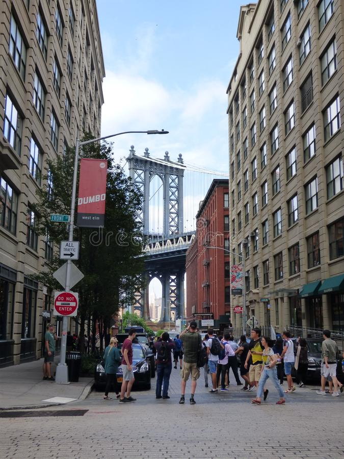DUMBO and Brooklyn bridge. Image of the Brooklyn Bridge located in New York and the view from the famous Dumbo neighborhood stock photography