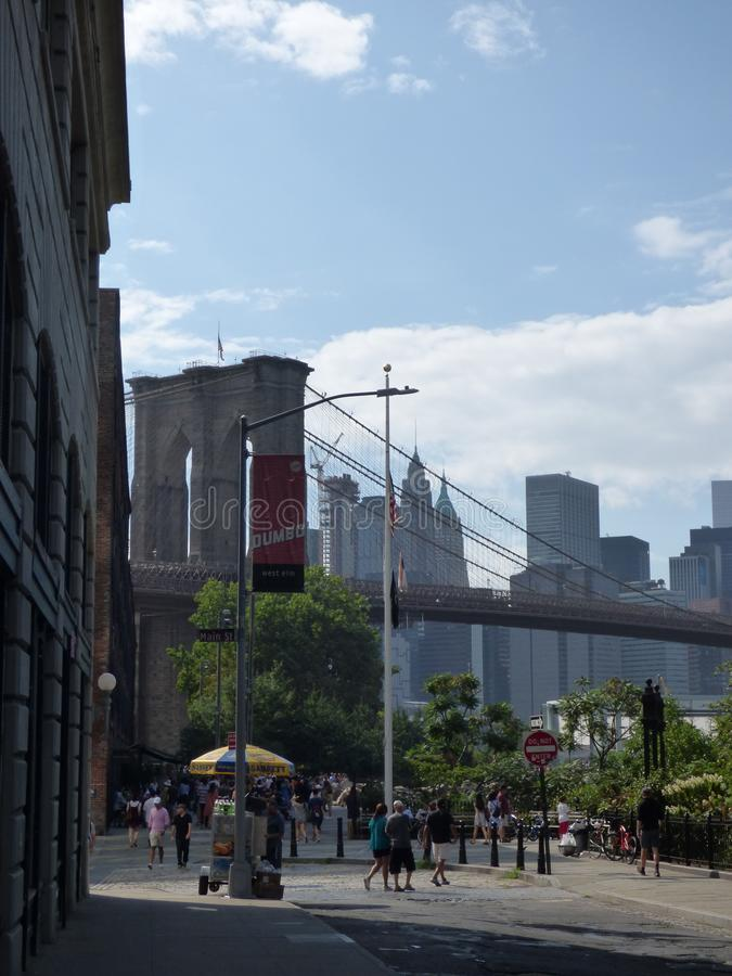 DUMBO and Brooklyn bridge. Image of the Brooklyn Bridge located in New York and the view from the famous Dumbo neighborhood royalty free stock image
