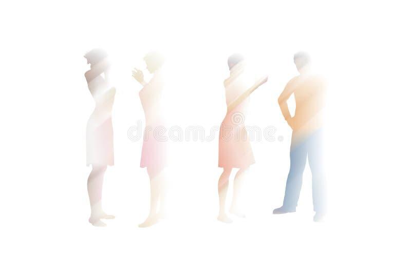 Image brouillée des personnes parlant sur le blanc illustration de vecteur