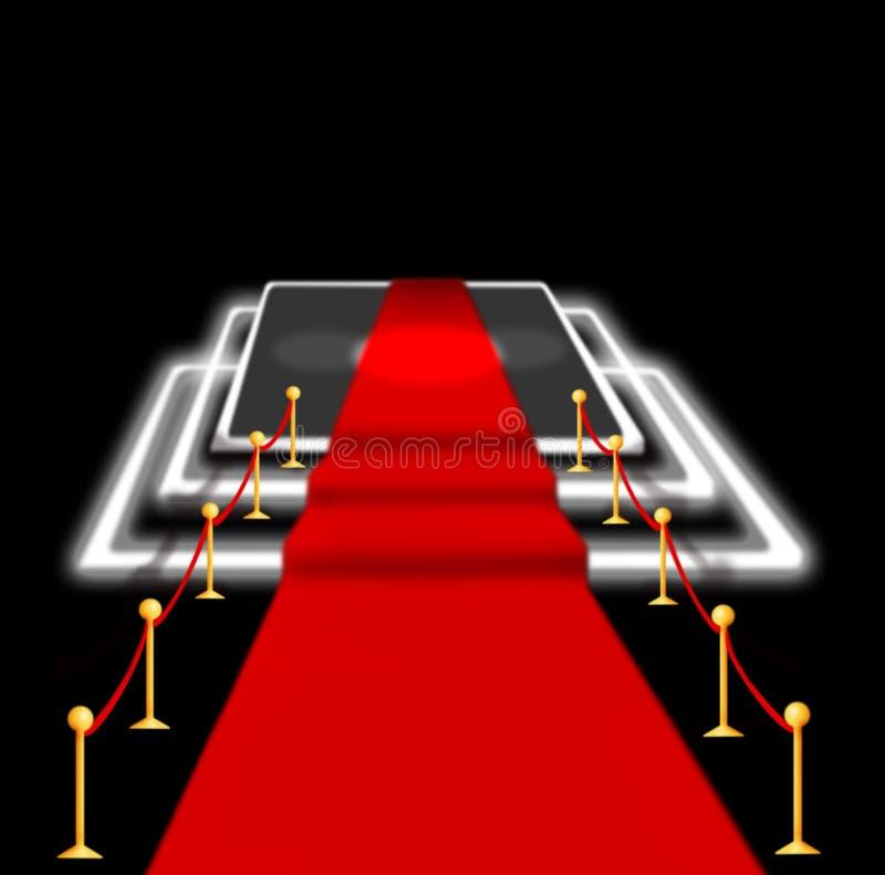 Image brouillée par résumé Tapis rouge avec des escaliers entre deux barrières de corde et lumière instantanée Scène illuminée pa illustration stock