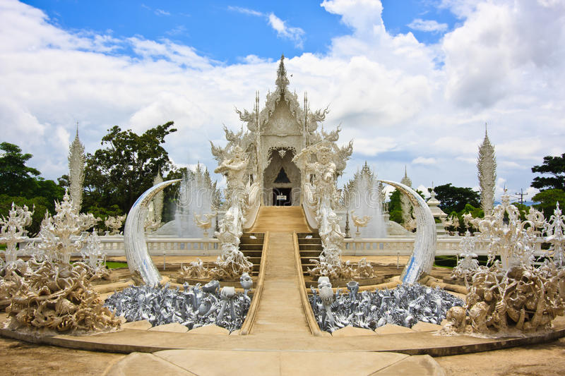 Image of Buddha. White temple in chiangrai,north of thailand royalty free stock image