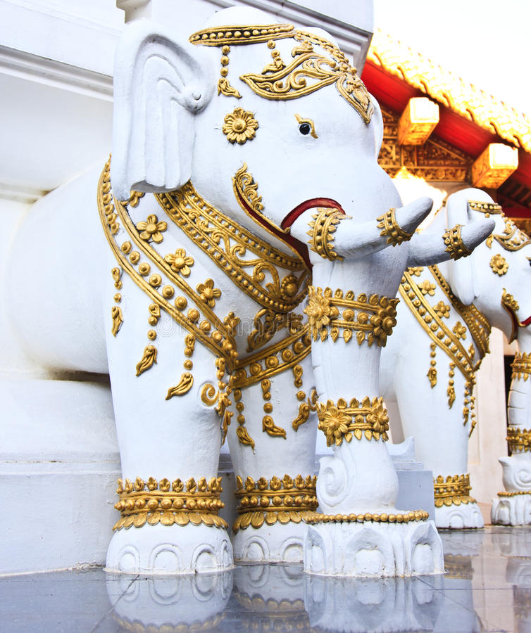 Image of Buddha. Statues of elephants at Thai temple royalty free stock photo