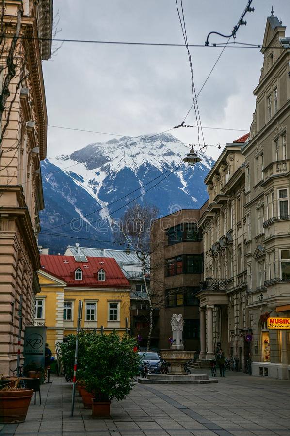 Image of building in background of mountains. royalty free stock images
