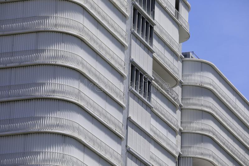Highrise building with hurricane shutters. Image of a building with hurricane shutters stock photo