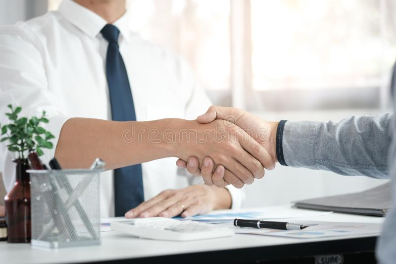 Image business mans handshake. Business partnership meeting concept royalty free stock image