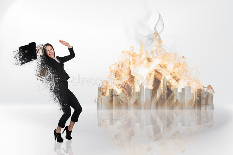 Image of businesswoman flying. In fire royalty free stock photos