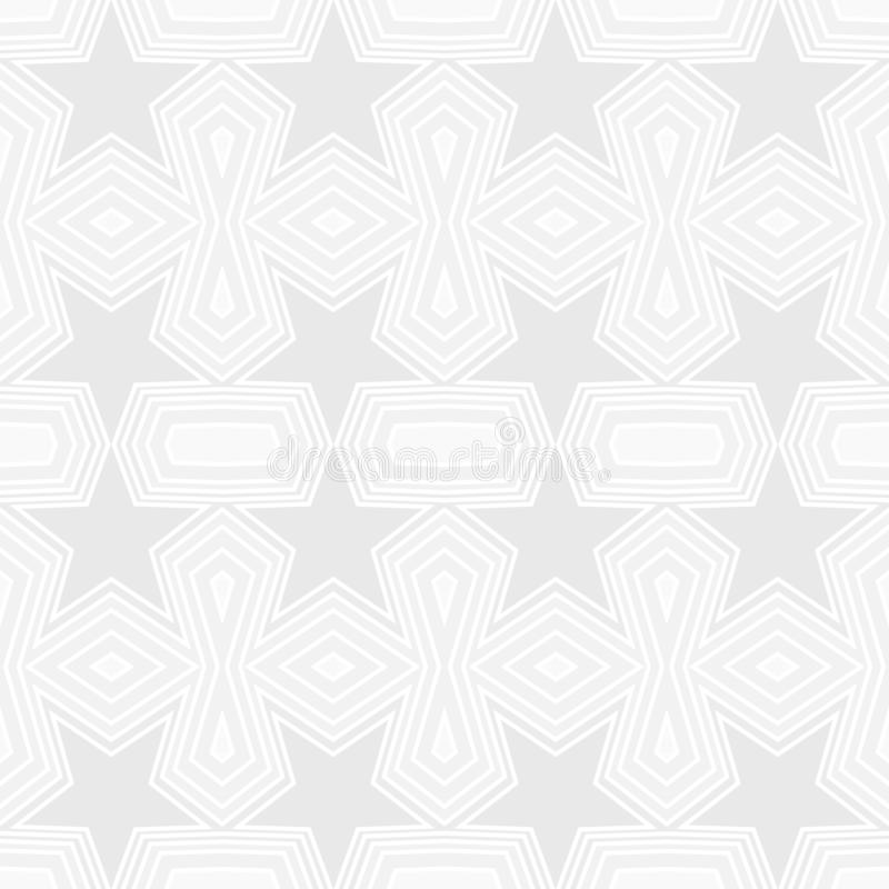 Seamless geometric pattern of gray stars and polygon shapes with white lines. Flat design vector illustration, EPS10. royalty free illustration