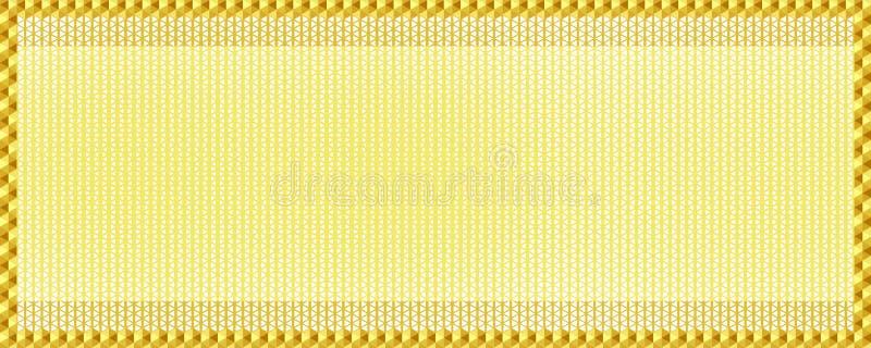 Seamless geometric pattern, gold color in luxury style, golden triangular texture in frame / border. Flat design vector illustrati stock illustration