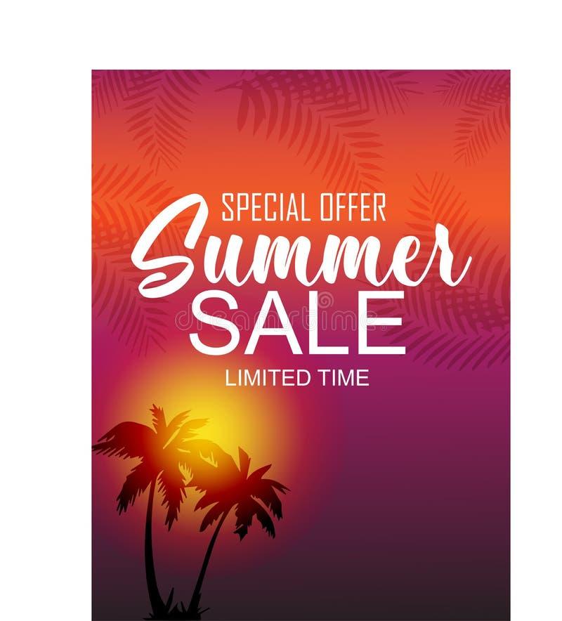 Tropical summer sale banner design stock illustration