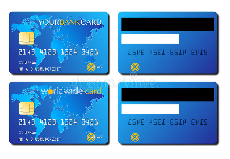 Credit card concept. An image a card credit illustration produced as artwork. This image shows a design for two different front and back faces of a credit card vector illustration
