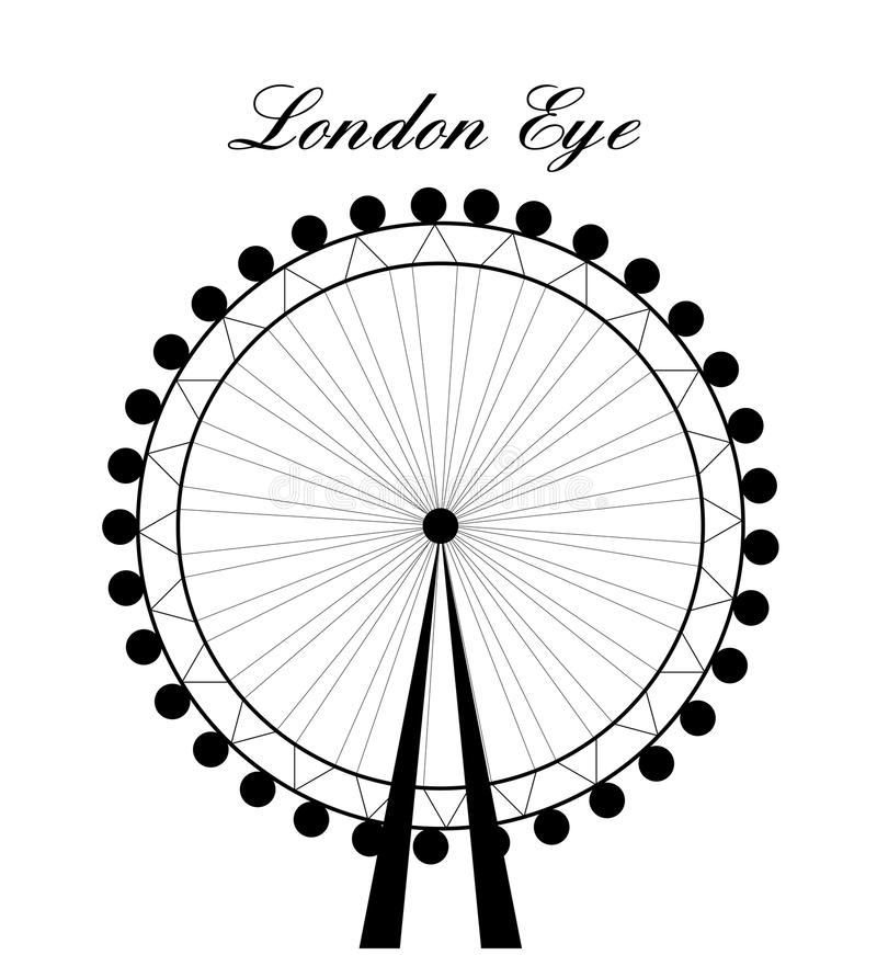 Image of cartoon London Eye silhouette with sign.Vector illustration isolated on white background. royalty free illustration