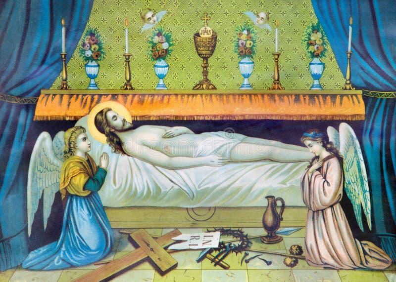 Image catholique typique de Jesus Christ dans la tombe de la fin de 19 cent images stock