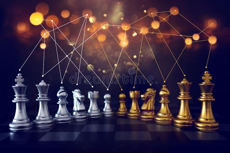 Image of chess game. Business, competition, strategy, leadership and success concept royalty free stock photo