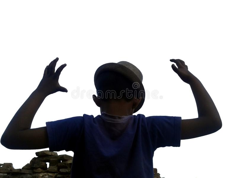This is the image of a child which is up our both hand royalty free stock photo