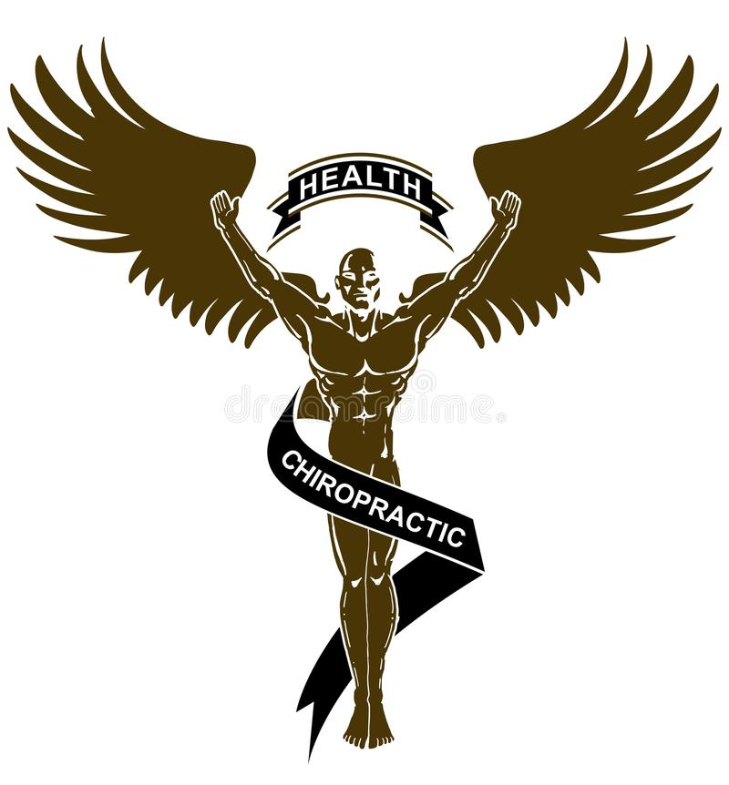 Black White Chiropractic Health Angel Man royalty free illustration