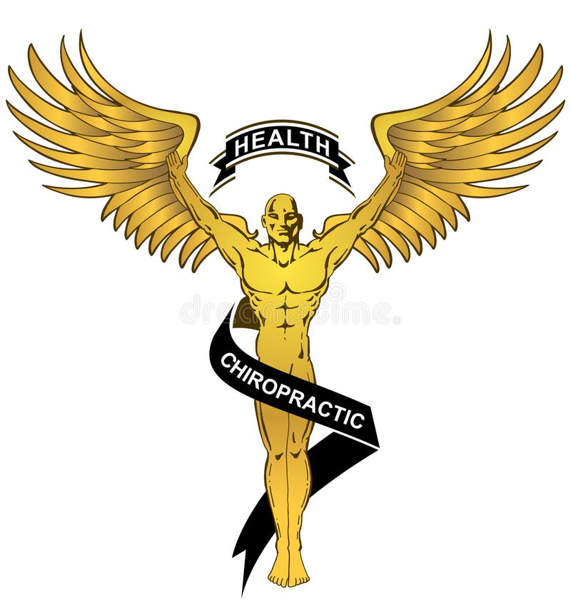 Chiropractic Health Gold Angel Man vector illustration