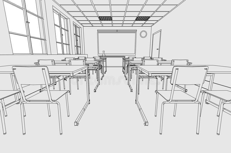 Classroom Furniture Dwg ~ Image of classroom interior stock illustration