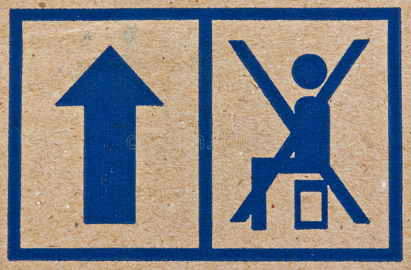 Image close-up of blue fragile symbol stock photos