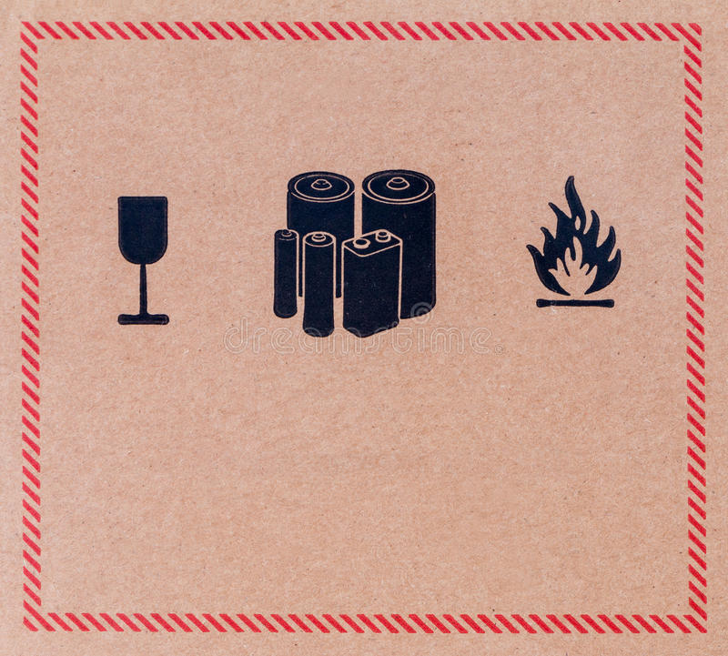 Image close-up of grunge black fragile symbol stock images