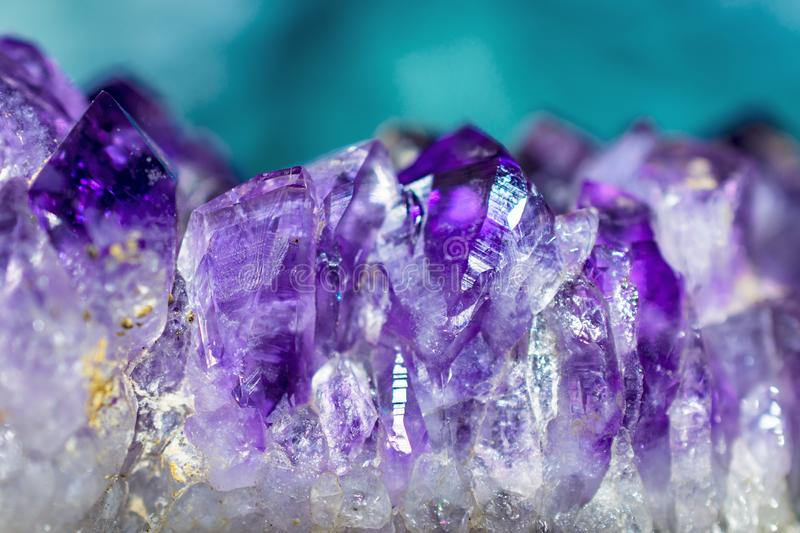 Macro Cluster Amethyst Crystal Gems. This image is a a closeup of an amethyst crystal. It was taken in February 2019. Purple crystal royalty free stock images
