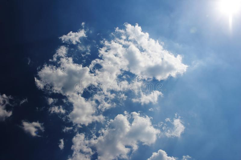 Cloud and blue sky. Image of cloud sunshine and blue sky in soft focusing stock images