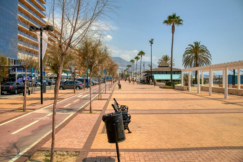 Fuengirola beach a sunny summer day. Image of the coast of the town of Fuengirola stock image