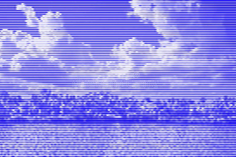Image collage of trees on the bank of the river and sky with clouds from horizontal lines and paths of variable thickness color b. Lue on white background vector illustration