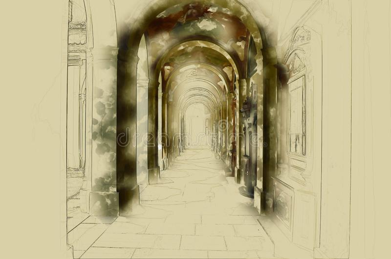 Image of a colonnade in a historic building. Image of a colonnade in a historic building stock illustration
