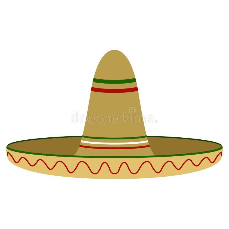 Image colorée traditionnelle d'isolement de chapeau mexicain illustration stock